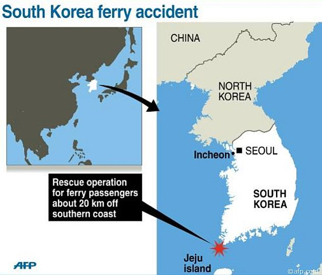 Map showing the area off the south coast of South Korea where a rescue operation was underway