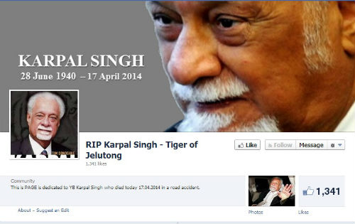 'RIP Karpal Singh - Tiger of Jelutong' Facebook page