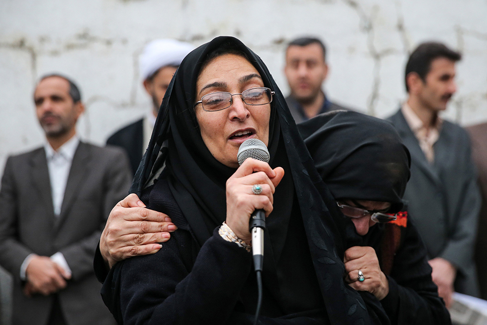Samereh Alinejad, the mother of Abdolah Hosseinzadeh, at her son's killer's execution ceremony.
