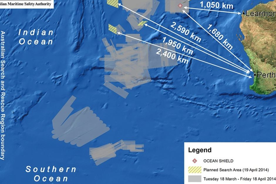 Map from AMSA shows the planned search area for Malaysia Airlines flight MH370 on April 19, 2014.