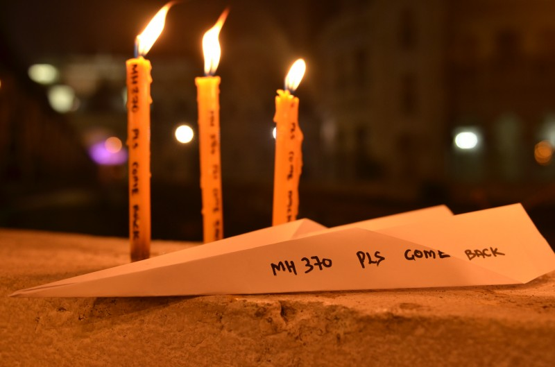 A candlelight vigil for flight MH370.