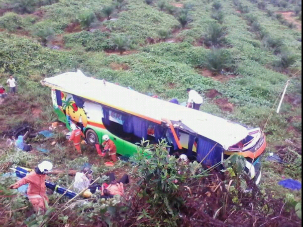 The scene of the bus crash in Pekan, Pahang.