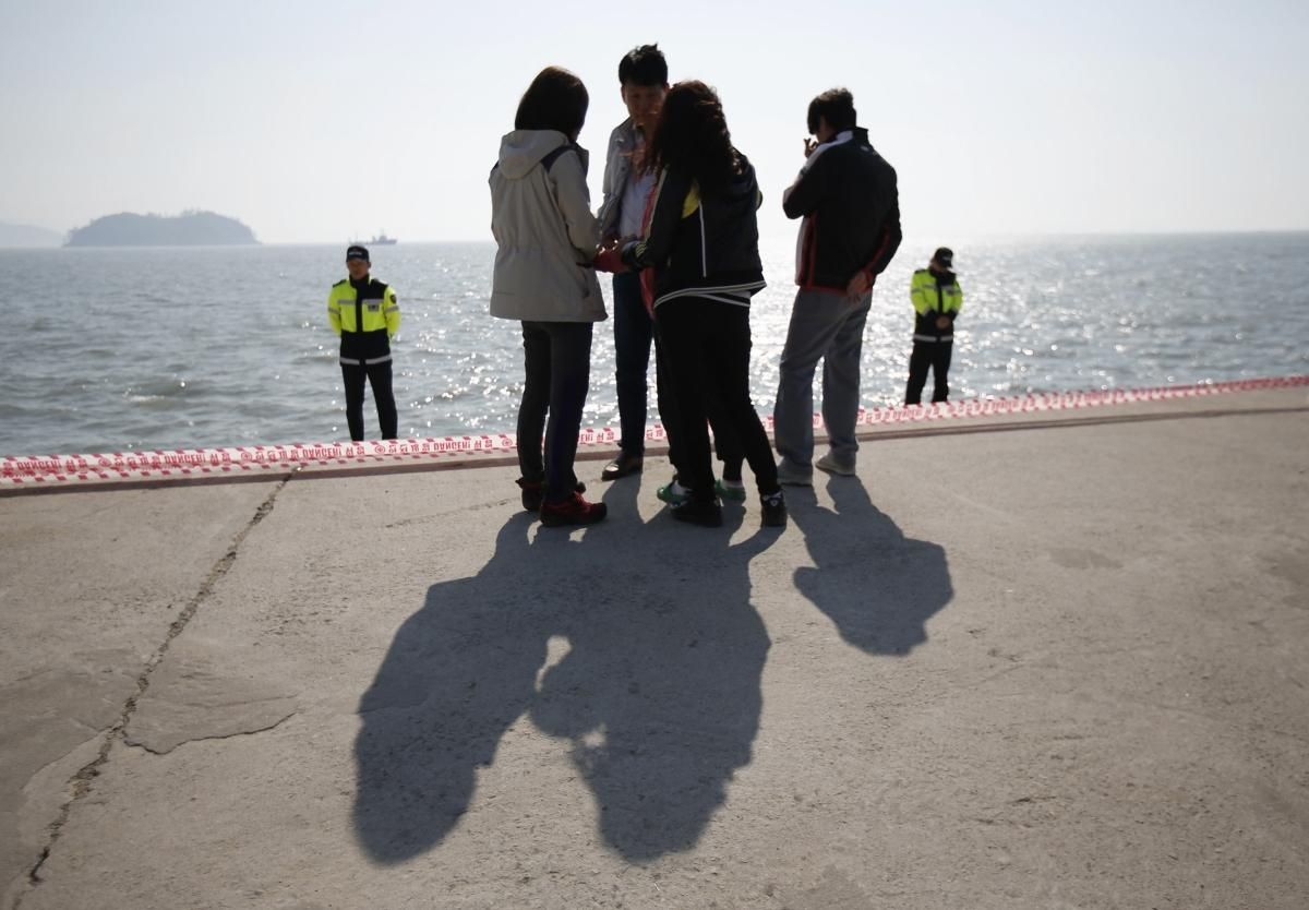 Family members of missing passengers who were on the South Korean ferry Sewol