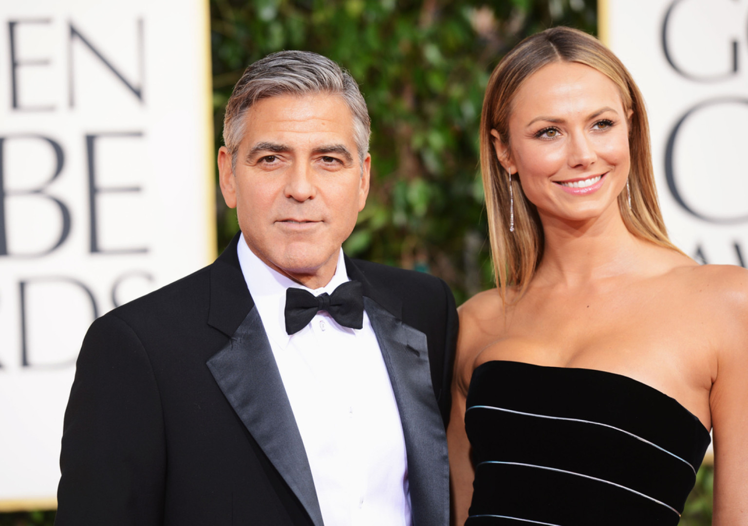 George Clooney and former girlfriend Stacy Keibler at the 70th annual Golden Globe Awards held at The Beverly Hilton Hotel on 13 January 2013 in Beverly Hills, California.