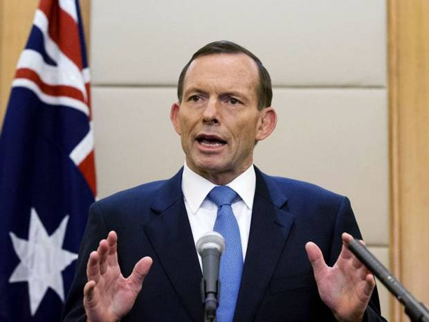 Australian Prime Minister Tony Abbott speaks during a press conference at a hotel in Beijing, China.