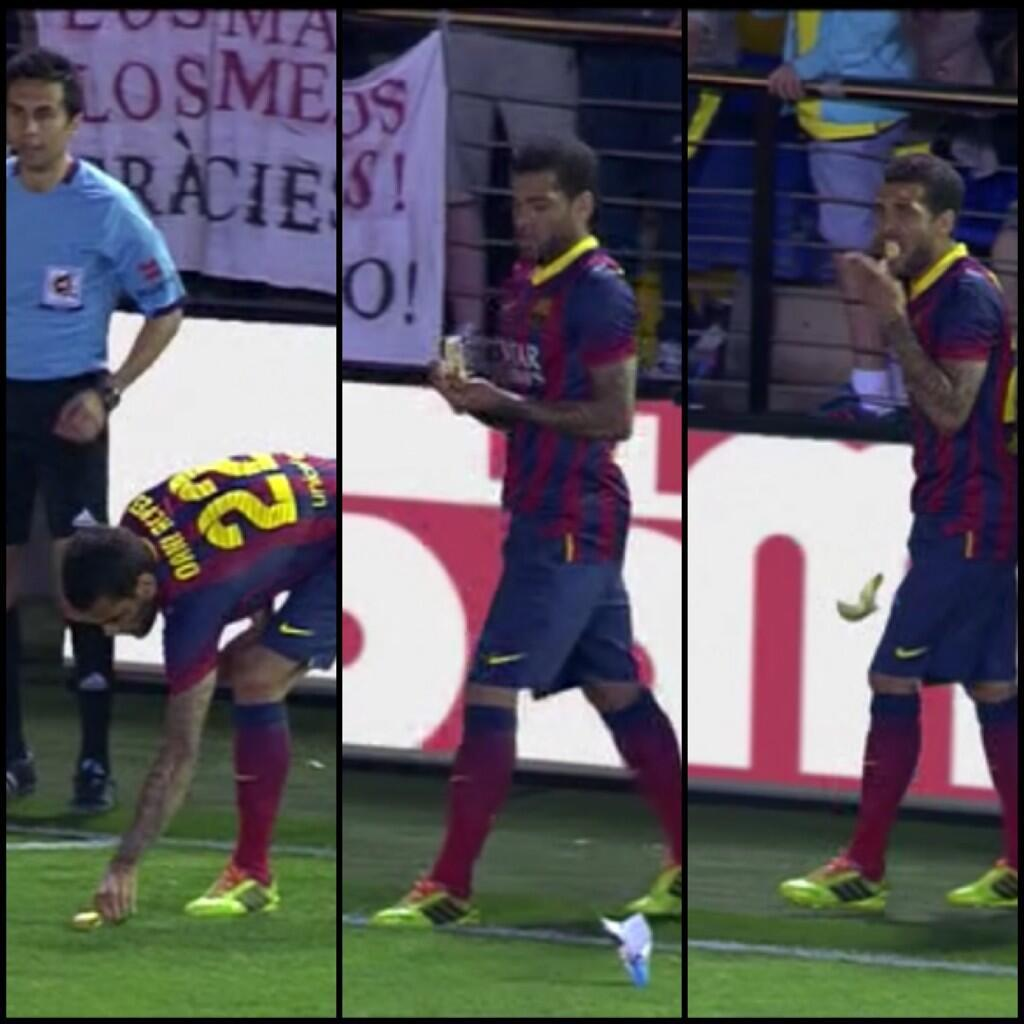 Alves was thrown a banana as he was about to take a corner