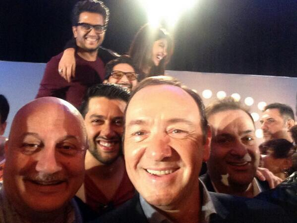 Anupam Pkher tweeted a selfie with Kevin Spacey.