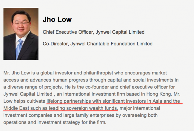 The Sarawak Report Also Noted That Jho Low's CV Acknowledges Links To Unspecified Sovereign Wealth Funds