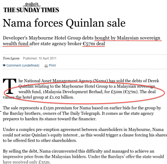 Sunday Times said the purchase by 1MDB was for €57million.