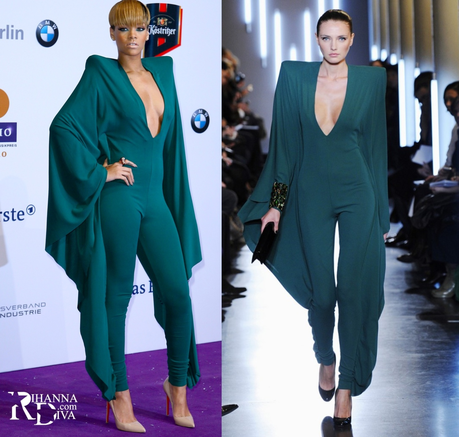 Rihanna in an Alexandre Vauthier jumpsuit at the 2010 Echo Awards in Berlin.