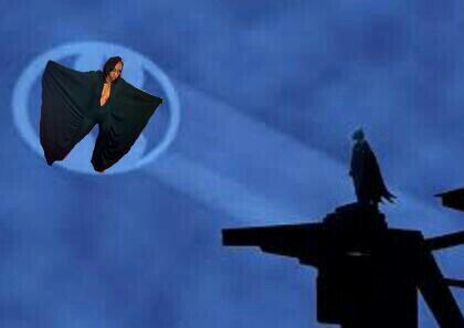 16-year-old Alexis Carter pictured in a photoshopped image including the Batman symbol in the sky.