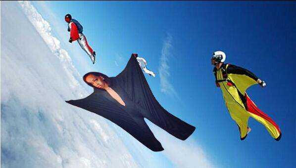 Alexis Carter photoshopped into an image with other wingsuit fliers.