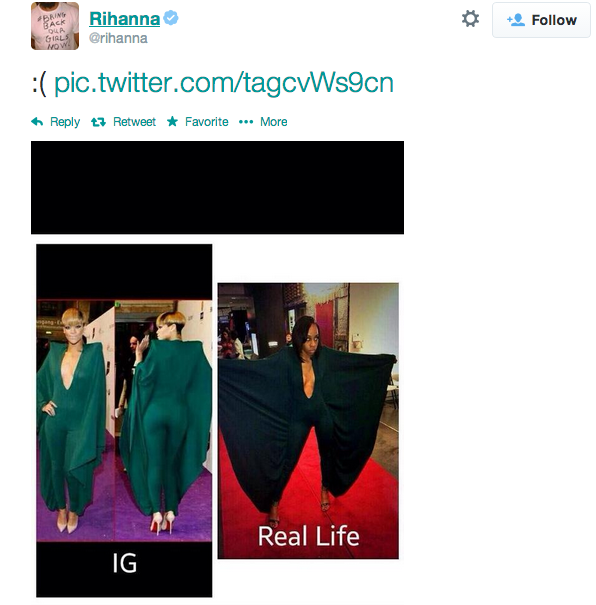 Rihanna tweets a photo of herself in an Alexandre Vauthier jumpsuit next to 16-year-old Alexis Carter.