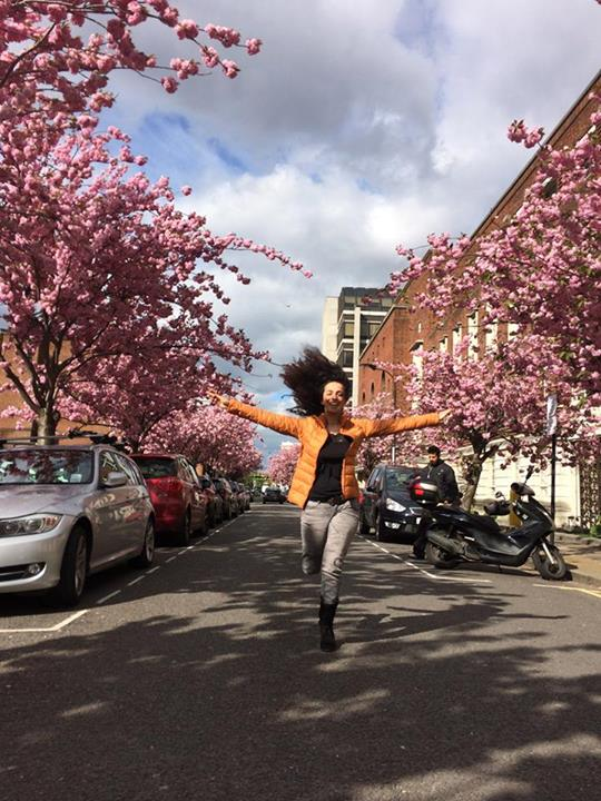 In this Facebook photo Masih Alinejad runs down a street in London, U.K. Alinejad has been collecting and posting photos to the 'Stealthy Freedoms of Iranian Women' Faceebook page since May 3, 2014