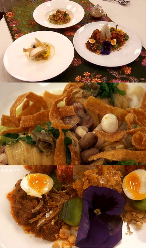 Ping's  three-course meal for the final challenge was truly Malaysian-inspired, albeit with a dash of plating magic. Seen in the top pic is her spread of three dishes comprising (clockwise from top) wanton soup, nasi lemak and vanilla and coconut panacotta. Coombes' creative touches came to the fore in the presentation of her wanton soup (middle pic) and nasi lemak (bottom pic).