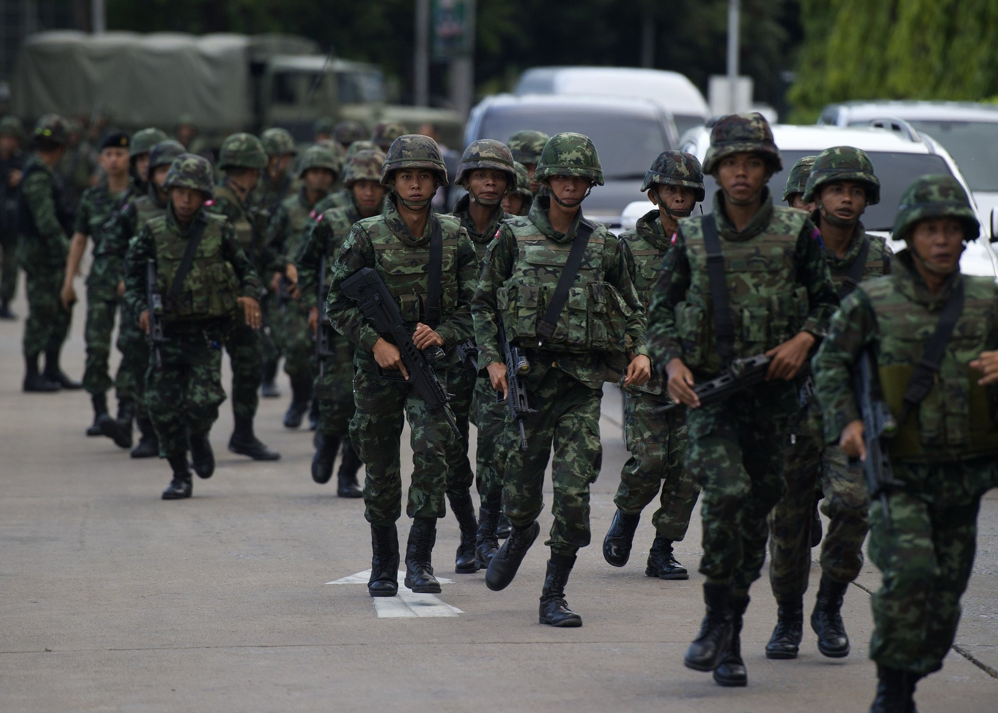 Thai soldiers in Bangkok on Thursday.