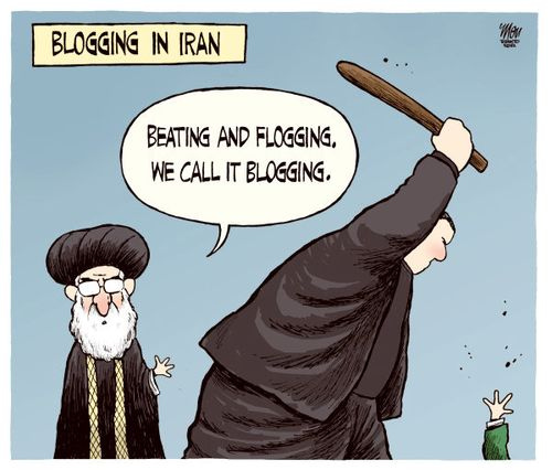 A cartoon depicting the state of flogging in Iran