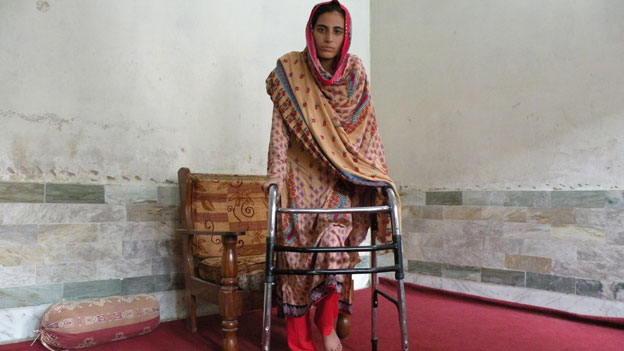 Rukhsana was so badly hurt in the attack that she needs a walking frame to move around