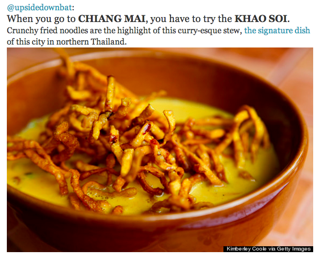 Khao Soi amongst some of the Asian delicacies listed in Huffington Post's article.