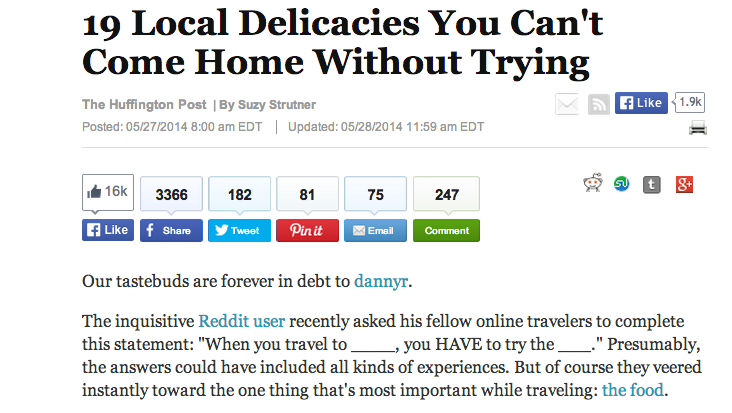 Huffington Post titled '19 Delicacies You Can't Come Home Without Trying', published on 27 May 2014.