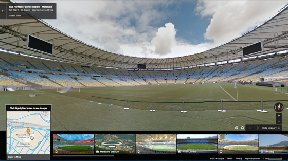 Google's put out full Street View imagery of the 12 World Cup stadiums and surrounding areas.