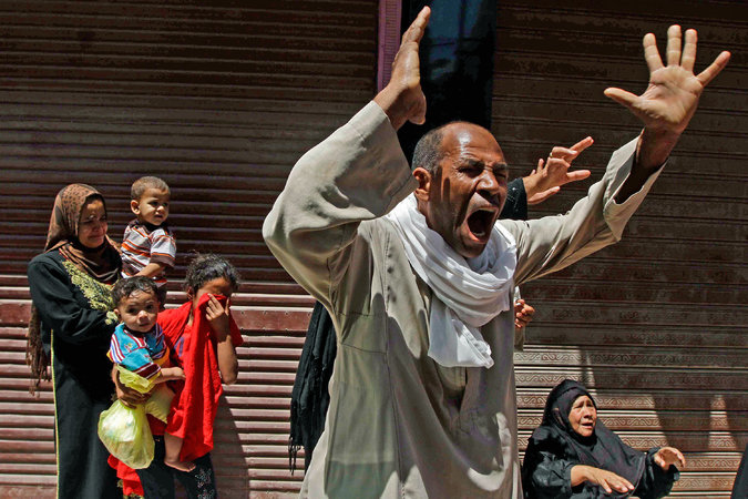 Relatives of a Muslim Brotherhood member whose death sentence was confirmed reacted Saturday outside a court in Minya
