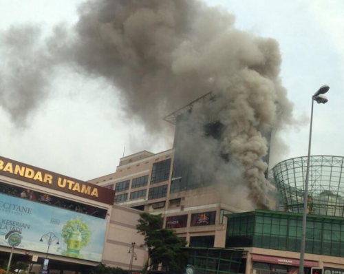 A part of One Utama caught fire this morning.