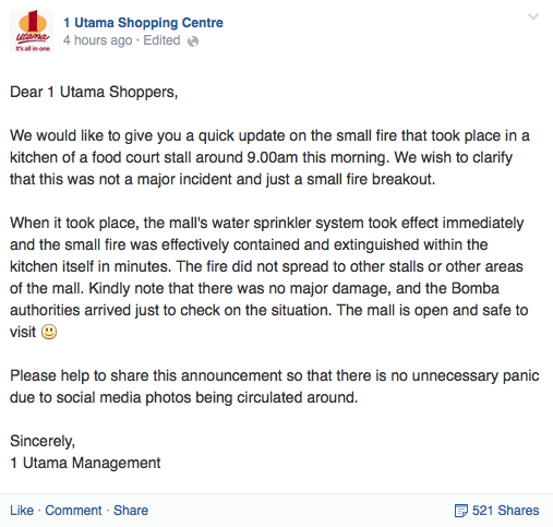 1 Utama Shopping Centre announced on their Facebook that the small fire that broke out was extinguished and that the mall was safe again