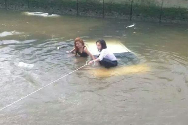 Three Ladies Rescued After Car Plunges Into Monsoon Drain