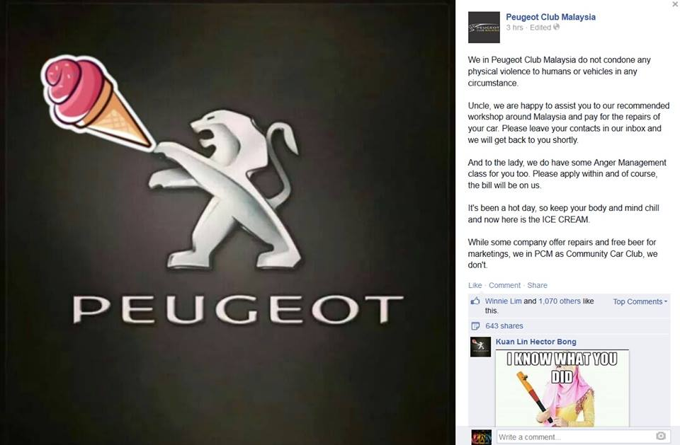 Peugeot Club Malaysia offering to pay for Uncle Sim's car repair and anger management classes for Kiki Kamaruddin.