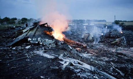 Debris from the crashed plane in Grabovo.