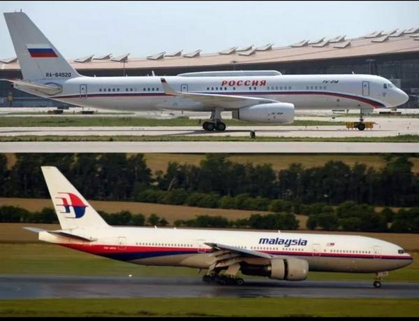 A photo of an MAS plane compared to a Russian plane.