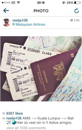 A MH17 passenger's posted this on Instagram before boarding the flight.