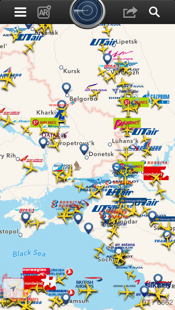 Other flights in area of Malaysia Airline flight shot down seem to be changing course