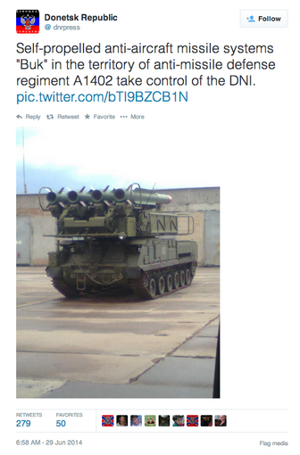 Deleted DNR tweet confirming Russian rebels indeed have a BUK-M1.