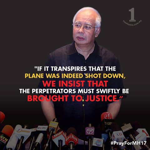 Najib's response towards the MH17 incident.