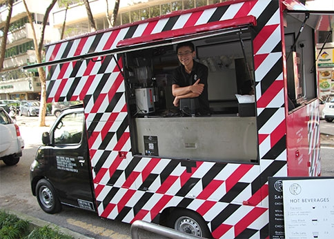 A 'travelling barista' in the Royal Post coffee truck