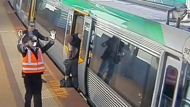 A man's leg got stuck in between the ledge of the platform and a train.
