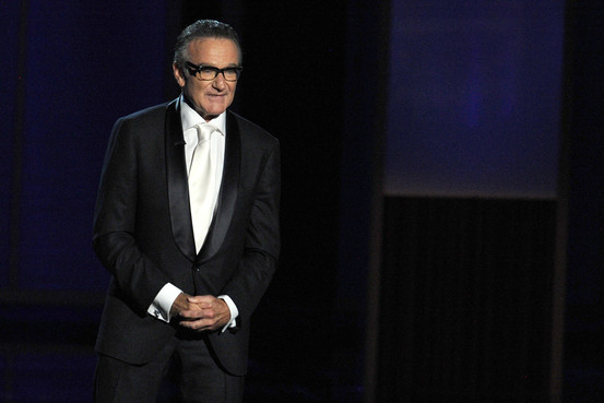 Robin Williams speaks onstage during the Emmy Awards last September in Los Angeles