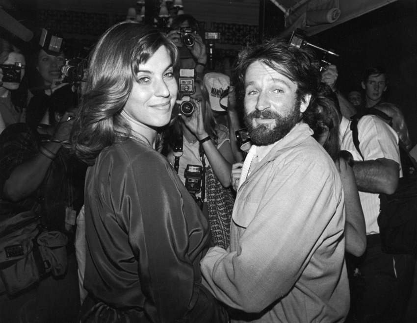 Williams with his first wife Valerie Velardi in 1983.