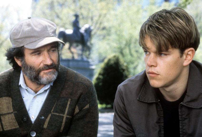 Williams with Matt Damon in the film 'Good Will Hunting' in 1997.