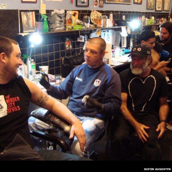 "For Justin Augustyn, Williams came across as ""super friendly, very gracious, personable and hilarious"". They met at a tattoo shop in New York City owned by Lars Frederiksen of the punk band Rancid and the three of them spent half an hour chatting."