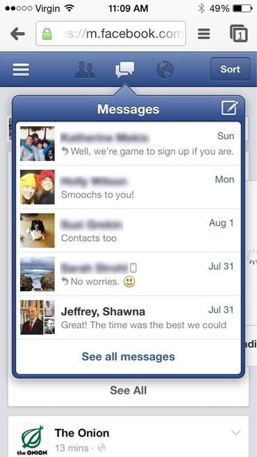 Open (then bookmark) Facebook in your mobile browser to continue enjoying integrated messaging.