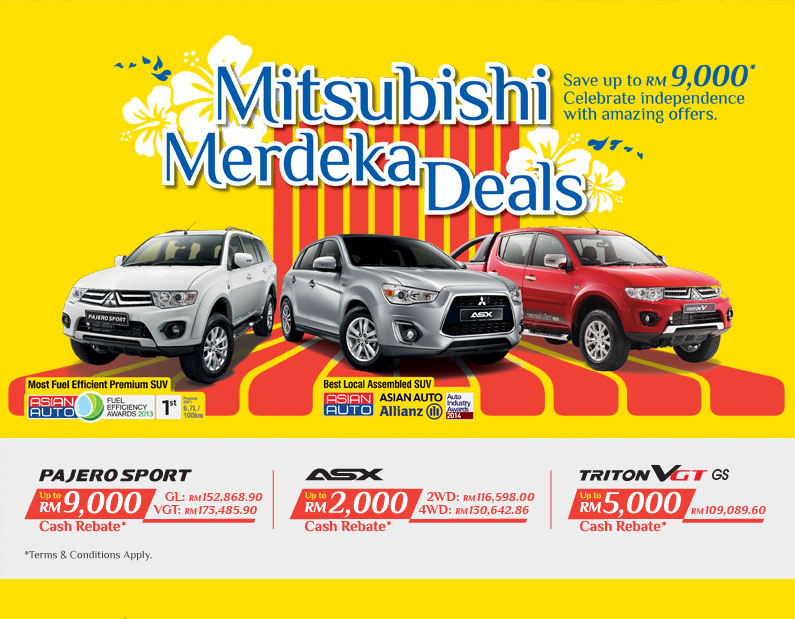 Save up to RM9,000 when you purchase a Mitsubishi vehicle anytime now till 30 September 2014