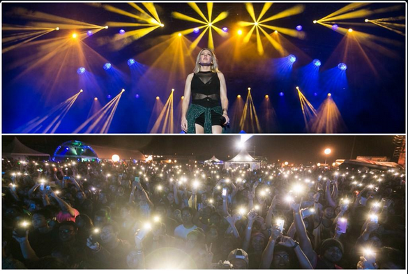 Ellie Goulding asked for lights and got more than just some.