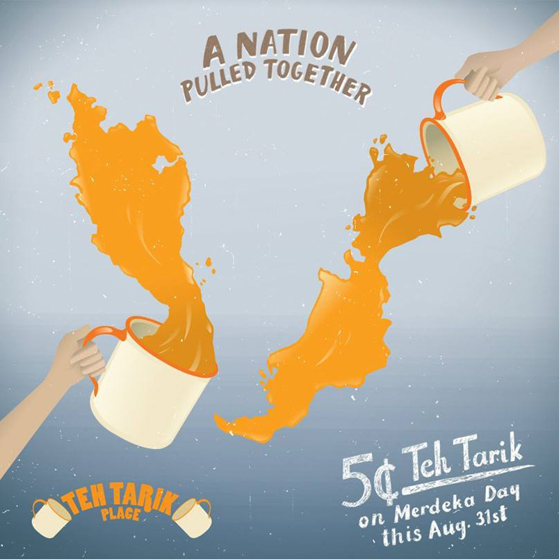Get a cup of frothy teh tarik with spare change in your wallet this 31 August 2014