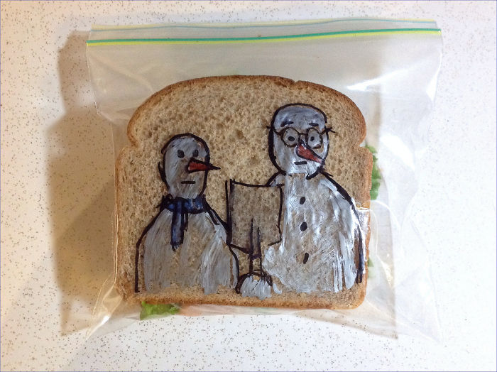 Since 2008, David LaFerriere has been surprising his kids by drawing on the sandwich bags he packs in their school lunches.