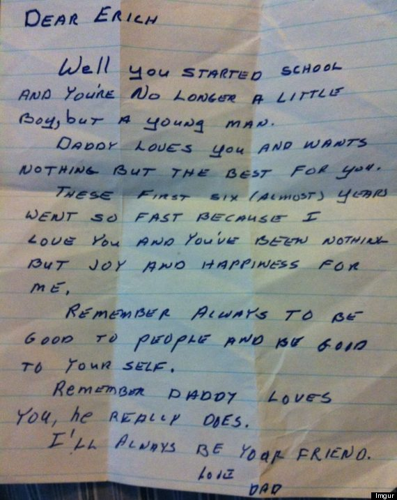 The handwritten letter from Erich's father.