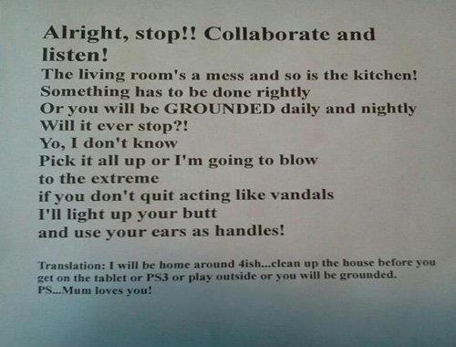 A mother's note to her kids to collaborate and help clean the house
