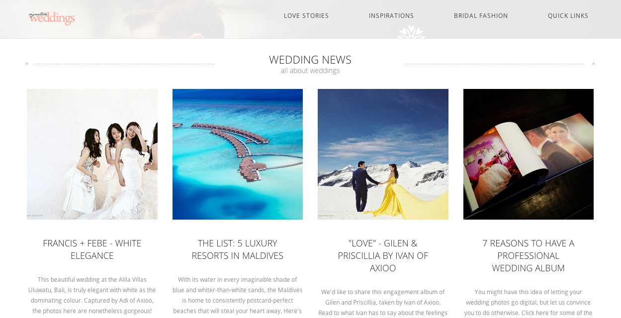 The frontpage of Signature Weddings